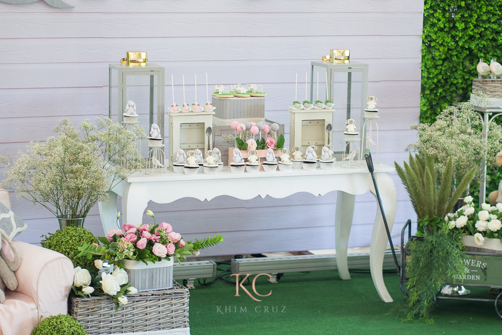 pottery barn themed party dessert table