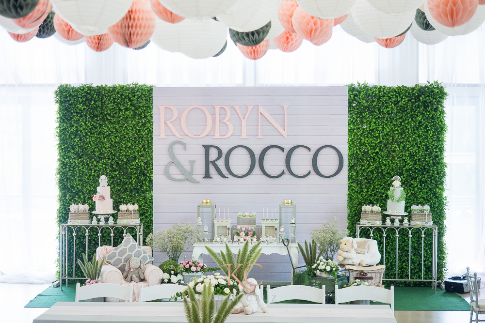 pottery barn themed party stage dessert table setup