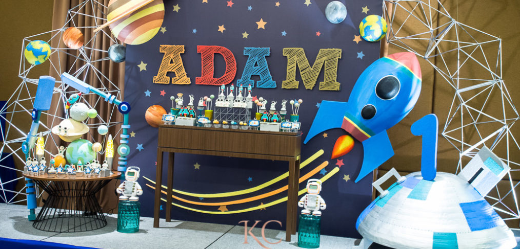 space theme kids party stage design