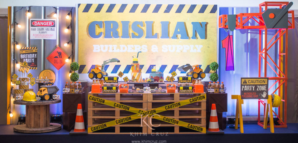 construction theme davao kids birthday party stage dessert table