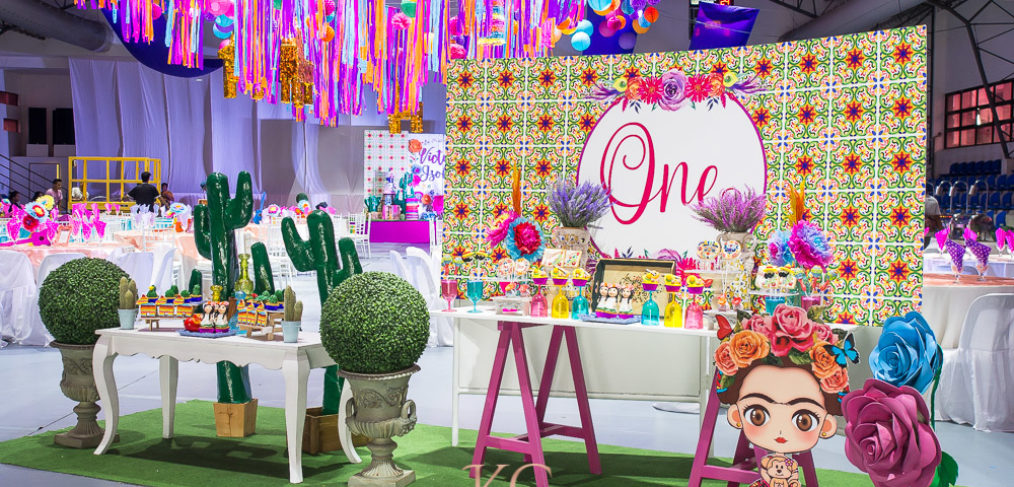 mexican fiesta kids birthday party decor dessert table ceiling